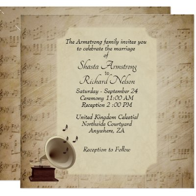 Antique Music Wedding Theme Invitation