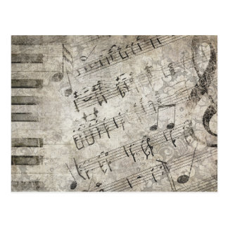 Antique Musical Notes and Keys Design Postcard