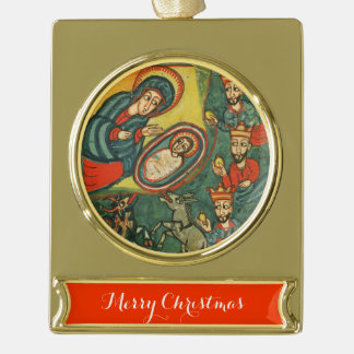 ANTIQUE NATIVITY PARCHMENT , ADORATION OF MAGI GOLD PLATED BANNER ORNAMENT