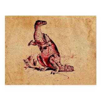 Antique Natural History Dinosaur Iguanodon Print Postcard
