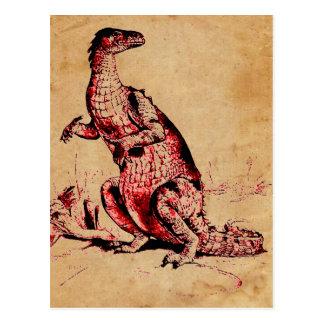 Antique Natural History Dinosaur Iguanodon Print Post Card