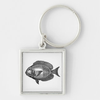 Antique Natural History Fish Engraving Keychain