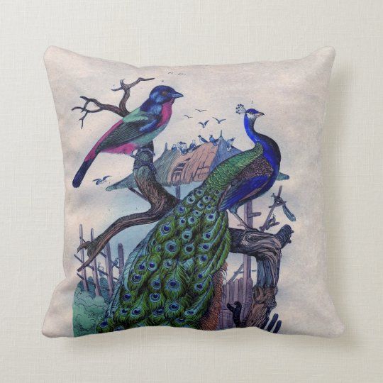 Antique Natural History French Blue Peacock Throw Pillow