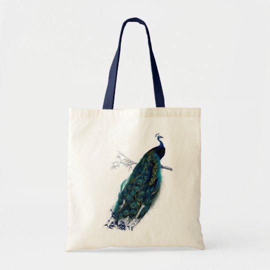 Antique Natural History Print Peacock Tote Bag
