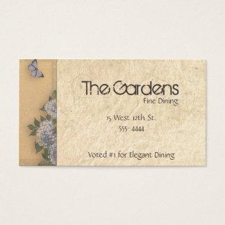 Antique Natural Paper Butterflies and Hydrangeas Business Card