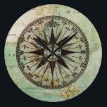 """Antique Nautical Compass &amp; Map Clock<br><div class=""""desc"""">Antique Nautical Compass &amp; Map Clock</div>"""