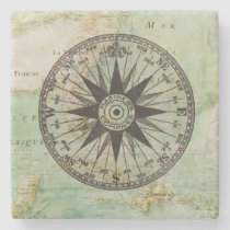 Antique Nautical Compass & Map Marble Coaster