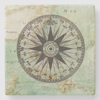 Antique Nautical Compass & Map Marble Coaster