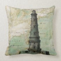 Antique Nautical Lighthouse & Map Pillow