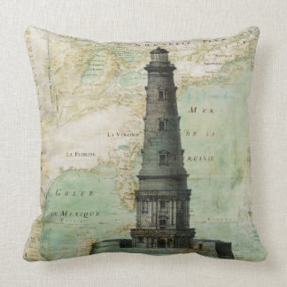 Antique Nautical Lighthouse & Map Pillow