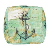 Antique Nautical Map & Anchor Cubed Pouf