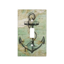 Antique Nautical Map & Anchor Light Switch Cover