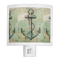 Antique Nautical Map & Anchor Night Light