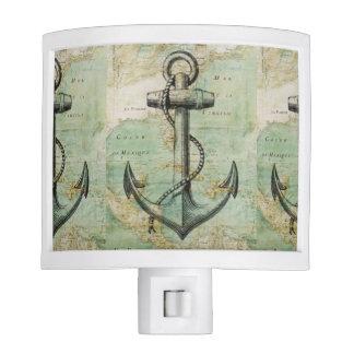 Antique Nautical Map & Anchor Night Light