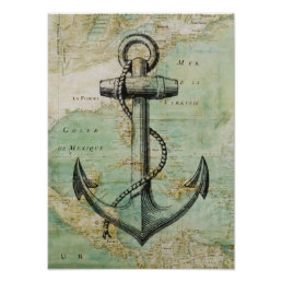 Antique Nautical Map & Anchor Poster