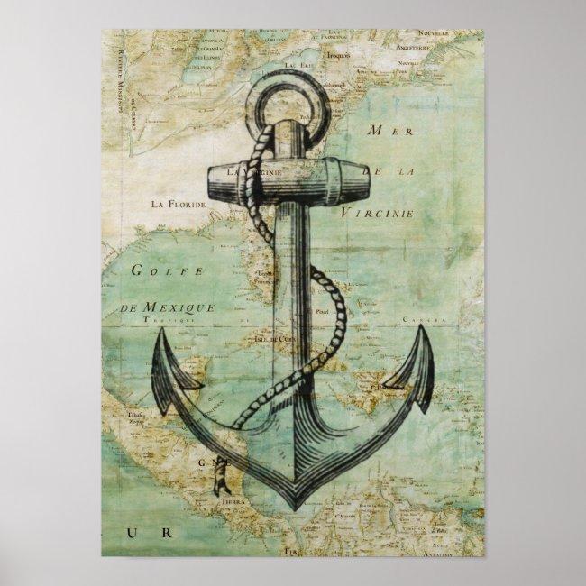 Antique Nautical Map & Anchor Poster
