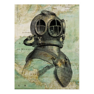 Antique Nautical Map Dive Helmet Postcard