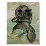 Antique Nautical Map & Dive Helmet Poster