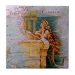 Antique Nautical Map & Mermaid Ceramic Tile