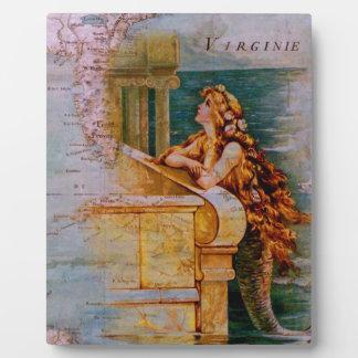 Antique Nautical Map & Mermaid Plaques
