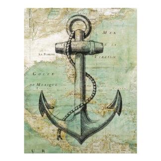 Antique Nautical Map with Anchor Letterhead Design