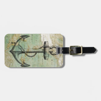 Antique Nautical Map with Anchor Luggage Tag