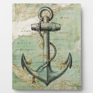 Antique Nautical Map with Anchor Plaques