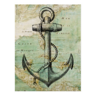 Antique Nautical Map with Anchor Postcard
