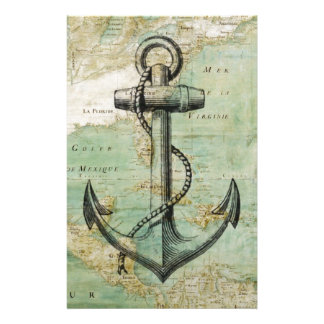 Antique Nautical Map with Anchor Stationery