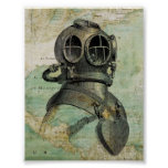 Antique Nautical Map with Dive Helmet Poster