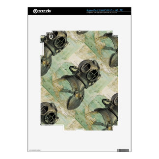 Antique Nautical Map with Dive Helmet Skin Decals For iPad 3