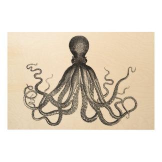 Antique Nautical Steampunk Octopus Vintage Kraken Wood Prints