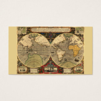 Antique Nautical World Map Business Card