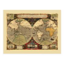Antique Nautical World Map Postcard