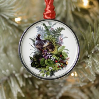 Antique Nesting Birds with Violets Ornament