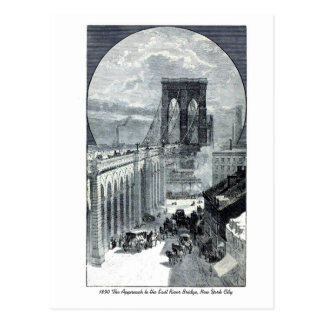 Antique New York: Approach to East River Bridge Postcard