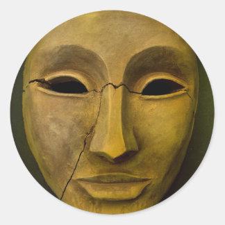 Antique Noh Mask Classic Round Sticker