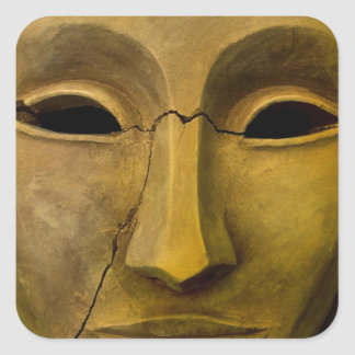 Antique Noh Mask Square Sticker