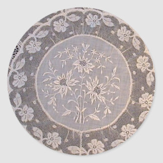 Antique Normandy Lace Classic Round Sticker