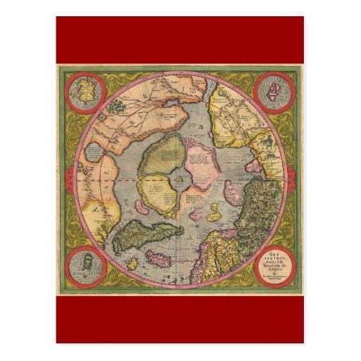 Antique North Pole Map Postcard
