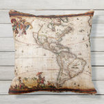 Antique North South America Map New World Vintage Throw Pillow