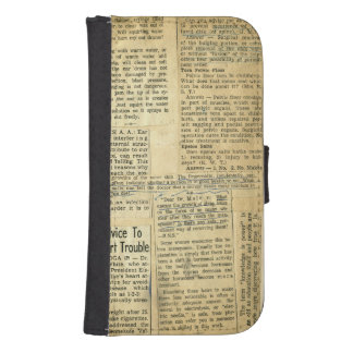 Antique Nursing Newspaper Clippings Scrapbook Wallet Phone Case For Samsung Galaxy S4