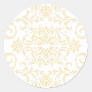 Antique Off White + Custom Color Classic Round Sticker