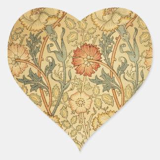 Antique Old Floral Design Heart Sticker