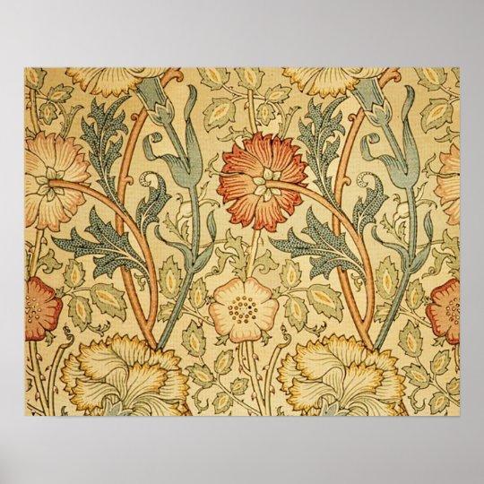 Antique Old Floral Design Poster