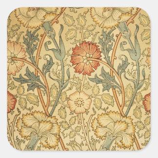 Antique Old Floral Design Square Sticker