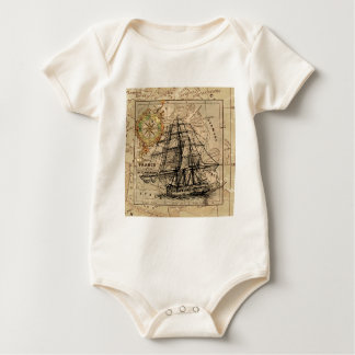 Antique Old General France Map & Ship Baby Bodysuit