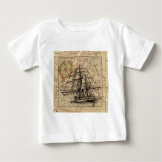 Antique Old General France Map & Ship Baby T-Shirt