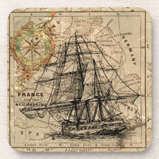 Antique Old General France Map & Ship Beverage Coaster