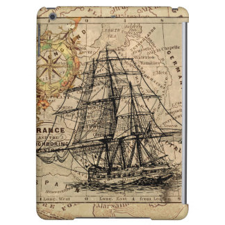 Antique Old General France Map & Ship Case For iPad Air